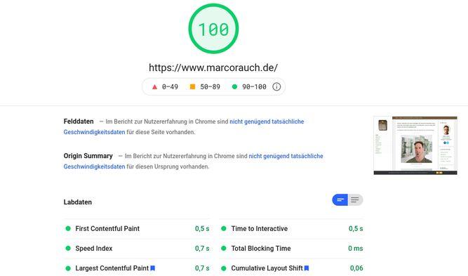 Google PageSpeed von www.marcorauch.de